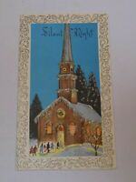 Christmas Greeting Card Old Vintage Silent Night Church Goers Glitter Flocked US