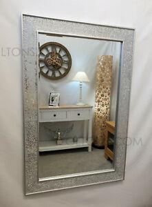 Crackle Design Wall Mirror Plain Silver Frame Mosaic Glass 120X80cm Handmade