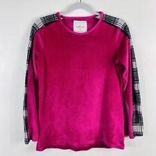 Cuddl Duds Size XS Pink Plaid Trim Fleece Pajama Top Long Sleeve Crew Neck