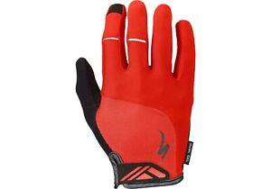 NEW! Specialized BG Dual-Gel Long Finger Men's Gloves Color Red Size Medium