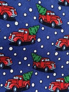 Vineyard Vines tie navy red truck with tree boys silk USA made holiday Christmas