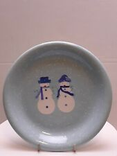 """Target Home WINTER FROST SNOWMAN COUPLE 8.25"""" Salad Plate(s) Christmas Blue"""