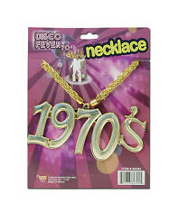 1970's GOLD DISCO FEVER BLING NECKLACE FANCY DRESS ACCESSORY
