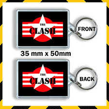 THE CLASH -STAR LOGO RED AND STRIPS -KEYRING CD765