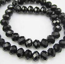 Hot Jewelry Faceted 50pcs Rondelle glass crystal #5040 4x6mm Beads Black BCF8W40