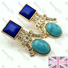 BLUE&GOLD FASHION crystal EARRINGS faux turquoise&lapis RHINESTONE art deco styl