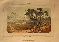 1863 LAGO D'AVERNO veduta litografia Pagnoni Barbieri Bertotti Cuma Pozzuoli