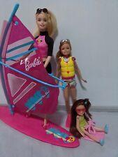 Mattel Barbie mix - 3 doll lot, Windsurfer Swim Sisters Skipper, Chelsea