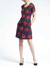NWT Banana Republic Bold Floral Crepe Dress Navy Combo Sz 00P