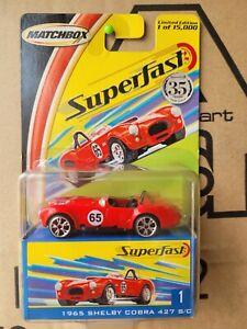 MATCHBOX 2008 SUPERFAST - 1965 SHELBY COBRA 427 S/C [RED] NEAR MINT VHTF