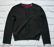 Alexander McQueen Pre-Fall '15 Black/Cherry Lace Knit Cardigan NWT SzS £990