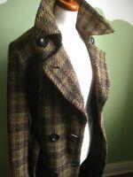 Ladies M&S ITALIAN FABRIC WOOL COAT UK10 green tweed retro belt fit flare duster