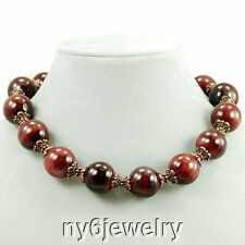 Huge Shiny Red Tiger Eye Round Beads Necklace w/Antique Copper Tone Clasp 18""