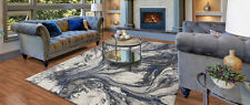 """5x8 (5'3"""" x 7'7"""") Contemporary Modern Abstract Gray Blue Area Rug"""