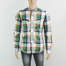 NEW Duck & Cover Mens Size M Orange Green Check Long Sleeve Cotton Shirt