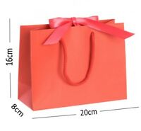 Red Small Ribbon Gift Bags - Rope Handle Wedding Events Hen Party Jewellery Bag