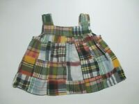 TODDLER GIRLS CREWCUTS CREW CUTS NAVY BLUE PLAID PATCHWORK TOP SHIRT SIZE XS 2