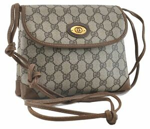 Authentic GUCCI Shoulder Cross Body Bag GG PVC Leather Brown 0262A