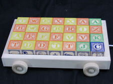 Uncle Goose Classic Wood Abc Blocks Toddler Learning Tool with Pull Wagon