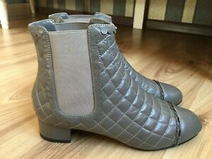 Authentic CHANEL grey leather quilted Chelsea boots logo CC