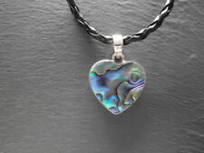 Balinese Sterling Silver and Paua/Abalone shell heart shaped pendant with cord