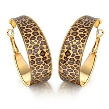 Fashion Enamel Leopard Print Big Hoop Earrings 18k Alloy XMAS Gift Women's CE48