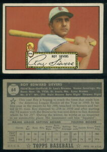 (69422) 1952 Topps 64 Roy Sievers Black Back Browns-VGX