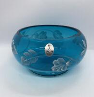 "Fenton Art Glass Hand Painted Signed Vase Ocean Blue 6"""