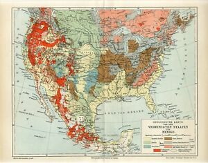 1895 AMERICA USA and MEXICO GEOLOGICAL MAP GEOLOGY Antique Map