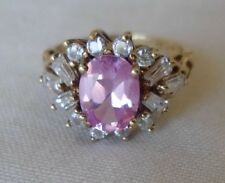 Vintage 14K Yellow Gold Pink Topaz Clear Stone Halo Ring  - 3.5 grams, Size 6.25