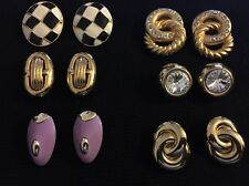 Gold Tone Clip On Earrings Lot Of 6 Assorted Vintage