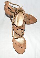 Stuart Weizman Nude Leather with Buckle Ankle Strap Platform Stilettos Sz 9.5 M