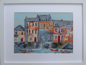 Padstow Summer : original framed painting, boats, houses, harbour, colour,