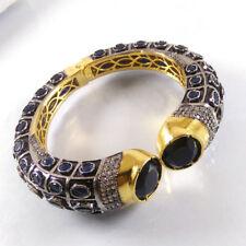 BLACK ONYX & SAPPHIRE Gemstone Gold Plated Indian Designer Cuff Bangle Bracelet