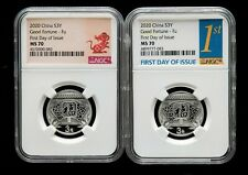 A Pair of NGC MS70 China 8g Silver Coins - 2020 New Year Celebration/Fortune/Fu