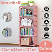 4-Tier DIY Bookcase Wall Bookshelf Leaning Wall Shelf Ladder Storage Furniture