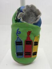Weestep chaussons bébé cuir souple et suéde vert bleu crayons  0-6 mois