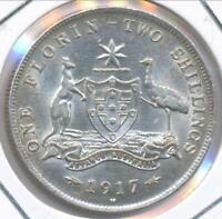 Australia 1917(m) Florin 2/- George V (Silver) - gEF/aUnc