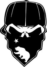 """Gangster California Mask Skull Decal Sticker Car Window- 6"""" Tall White Color"""