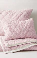 2pc Restoration Hardware Teen Kids Twin Ogee Lattice Quilt&Sham Dusty Rose Pink