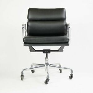 2006 Eames Herman Miller Soft Pad Aluminum Group Desk Chair Black Leather 2x