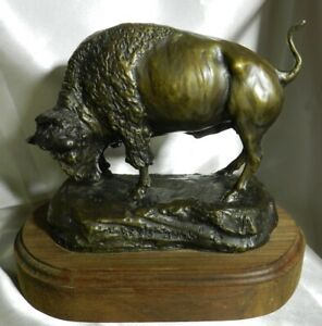"RARE Bob Scriver Original Bronze ""Rex's Bull"" Buffalo 79/100 1995 w/ COA VT4722"