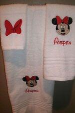 Minnie Mouse Face Personalized 3 Piece Bath Towel Set Your Color Choice