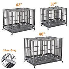 "37""/42""/48"" Dog Crate Kennel Heavy Duty Pet Cage Playpen w/ Tray Pan Wheels Xl"