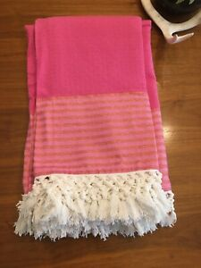 NWOT! PINK BEACH THROW BLANKET FRINGE Lilly Pulitzer for Target Glitter
