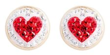 10k Yellow Gold Round Shape Stud Earring with White and Red Crystal Heart...