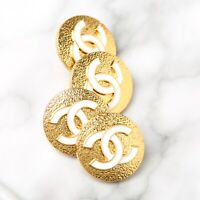 Chanel Buttons STAMPED 4pc CC Gold & White 18mm Vintage Style AUTH!!!