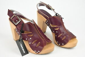 DIESEL CLOG D-ENNY Women EUR 39 Wood Leather Burgundy High Heels Sandals 17120_
