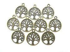 10 Anhänger Charm Baum Des Lebens Farbe bronze Metall Tree Of Life 23mm #s477