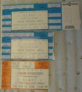 Heart Concert Tickets from California in 1986 & 1987 - HTF